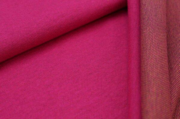 Jacquard-Sweat Ben amarant pink Uni mit navy blauer und senf Rückseite