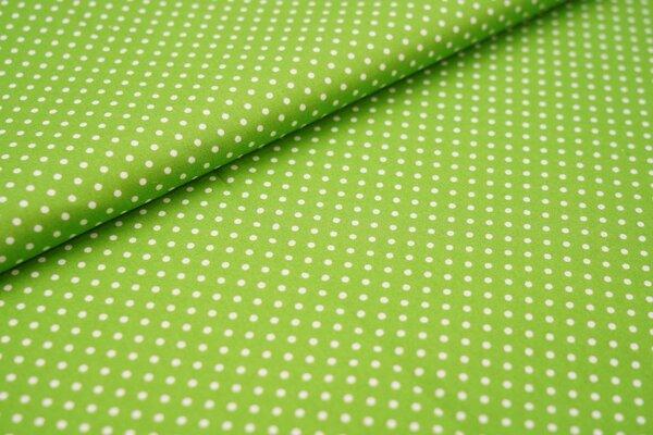 Baumwollstoff Baumwolle kleine Punkte limettengrün / weiß