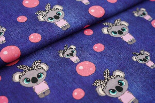 Baumwoll-Jersey in Jeanspotik Koala Mädchen und Kreise dunkel jeansblau