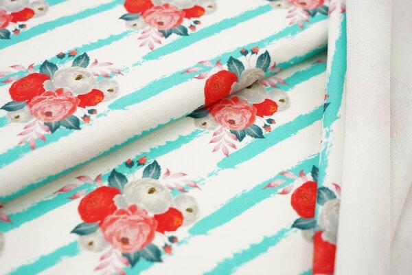 Traumbeere Baumwoll-Sweat Digitaldruck Blumen rot auf Streifen off white / mint