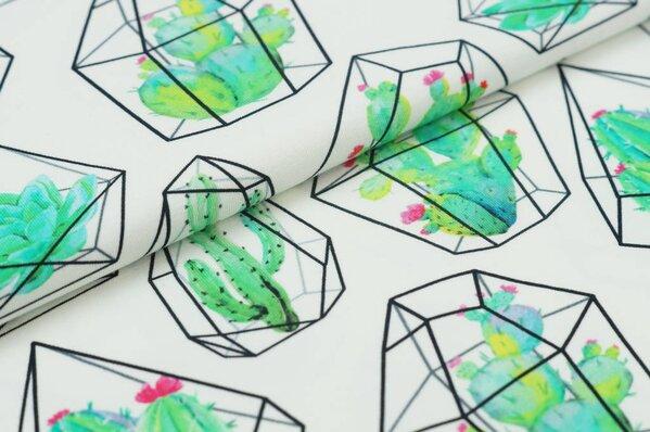 Baumwoll-Jersey Digitaldruck Kakteen Kaktus im Edelstein auf off white