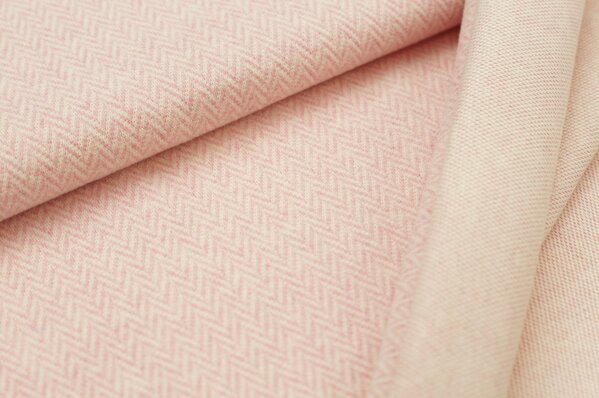Kuschel Jacquard-Sweat Moritz Fischgrätenmuster pastell pink / off white Melange