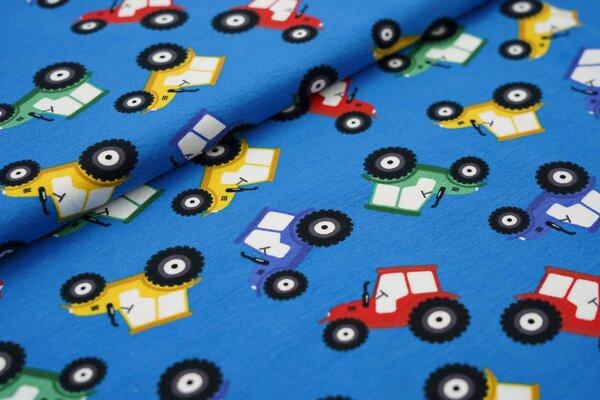 Baumwoll-Jersey große Traktoren auf blau