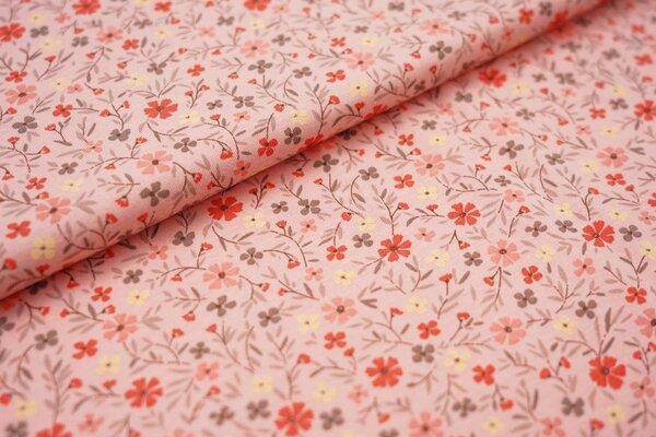 Sommer T-Shirt-Stoff / leichter Jersey Blumenwiese auf lachs rosa