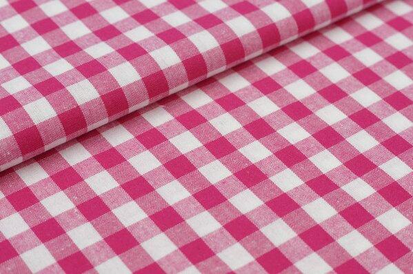 Baumwollstoff Baumwolle Karomuster groß kariert pink / weiß