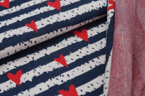 Jacquard-Sweat Ben Herzen Streifen navy blau / off white / rot