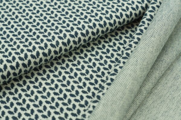 Jacquard-Sweat Mia kleine navy blau Melange Blätter auf off white