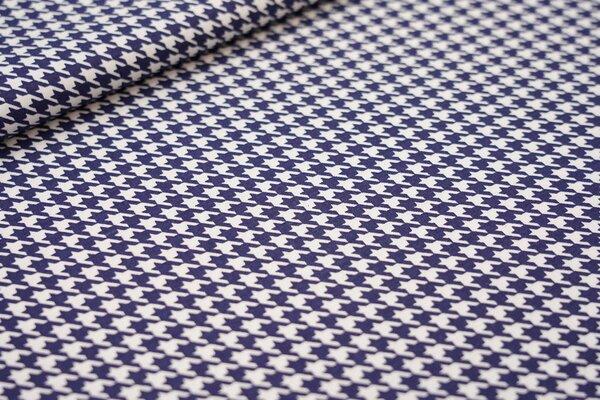 Baumwolle kleines Hahnentrittmuster dunkelblau / weiß