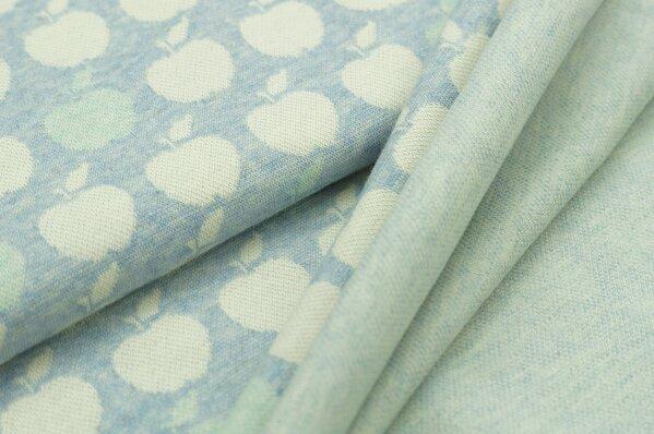 Jacquard-Sweat Mia off white und mint Äpfel auf pastell hellblau Melange
