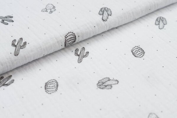 Musselin Stoff Double Gauze Kakteen Kaktus und Punkte weiß / schwarz