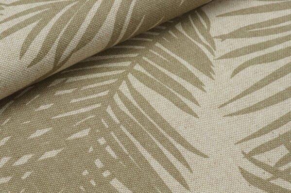 Canvas Dekostoff in Leinenoptik Canvas Blätter natur schlamm beige
