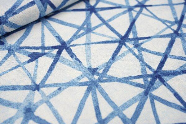 Canvas-Stoff Dekostoff in Leinenoptik Strich-Muster blau / hellblau / weiß