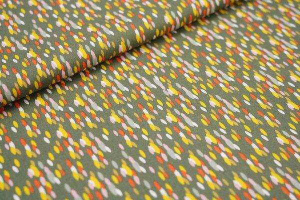 Baumwolle bunte längliche Punkte auf khaki grün