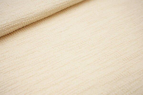 Elastischer Baumwoll Strukturstoff Bouclé-Jersey uni creme ecru