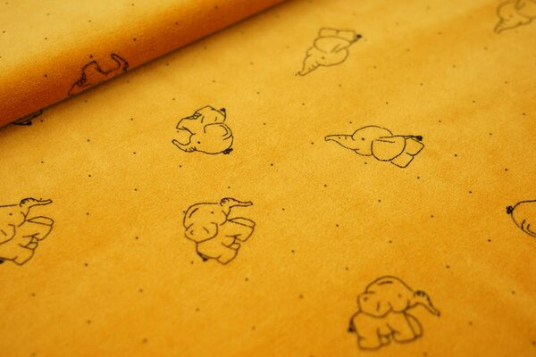 Nicki Velours Stoff Elefanten und Punkte auf orangegelb