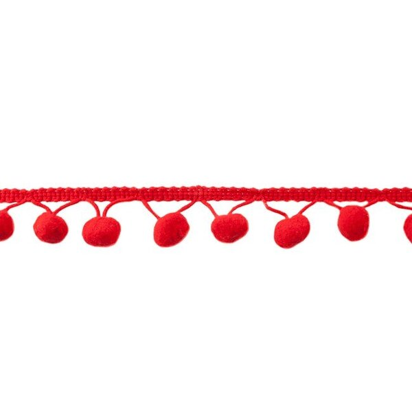 Bommelborte uni rot 24 mm