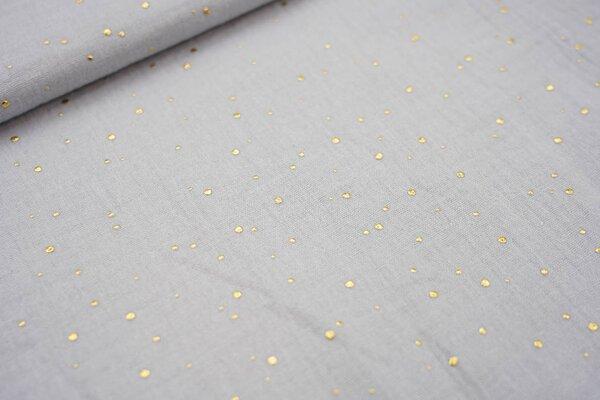 Musselin Stoff Double Gauze uni hellgrau mit Gold Dots Punkte