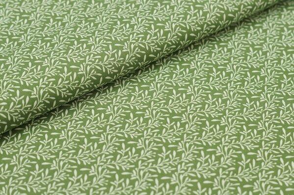 Baumwollstoff Blätterranken weiß auf grün Baumwolle