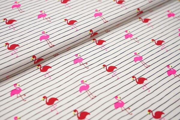Baumwoll-Jersey neon pink rot Flamingos auf weiss mit zarten schwarzen streifen