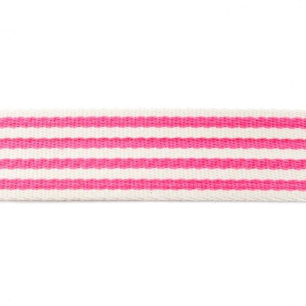 Breites Gurtband mit 4 Streifen off white / neon pink 40 mm