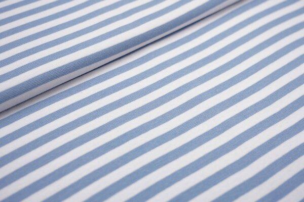 Glattes Ringelbündchen Streifen hellblau / weiß 7 mm