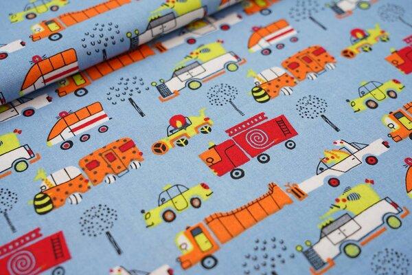 Baumwolle bunte Fahrzeuge mit Tieren Feuerwehrauto Lkw Taxi auf hellblau