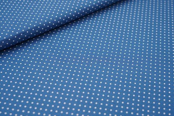 Baumwollstoff Baumwolle petrol blau mit kleinen weißen Punkten