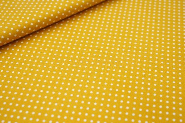 Baumwollstoff Baumwolle kleine Punkte senf ocker / weiß