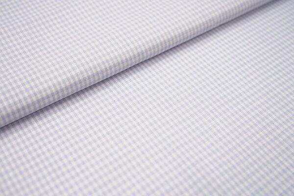 Baumwollstoff Baumwolle vichykaro Karomuster sehr klein kariert weiß / hellblau