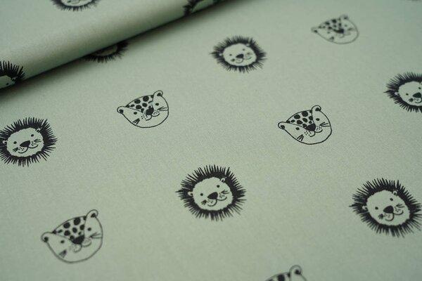 Baumwolle Tiergesichter grün / schwarz Löwe Leopard