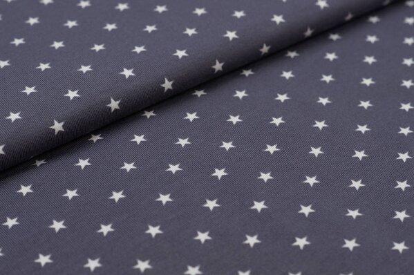 Baumwoll-Jersey kleine Sterne dunkelgrau / hellgrau