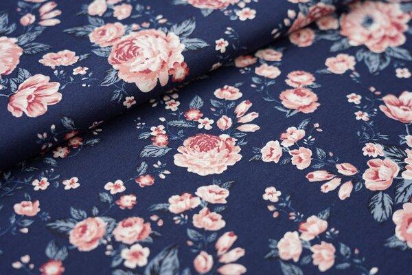 Sommer T-Shirt-Stoff / leichter Jersey Rosen Blumen in altrosa und blau auf dunkelblau
