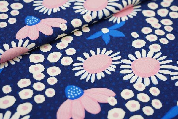 Traumbeere Baumwoll-Jersey Digitaldruck Blumen Blüten Punkte dunkelblau / off white / rosa