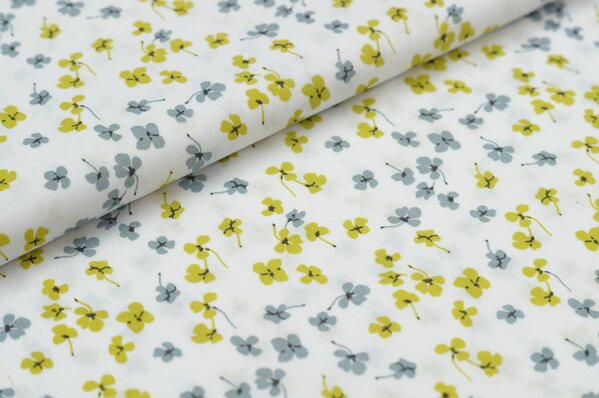 Baumwollstoff mit Kleeblatt Blumen weiß / olivgelb / grau / anthrazit Baumwolle