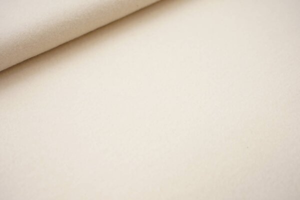 Dicker kuscheliger Baumwoll-Fleece Stoff uni creme ecru