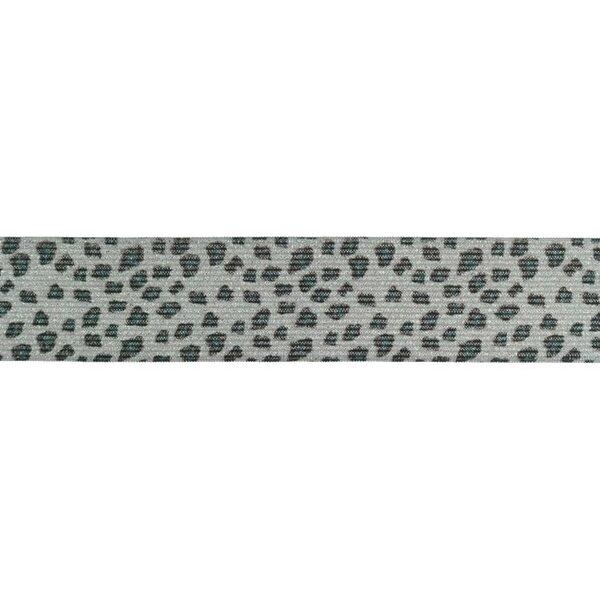 Gummiband mit Tierdruck und Glitzer Panther Fell hellgrau 35 mm breit