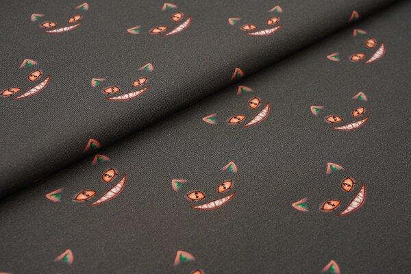 Baumwoll-Jersey Geisterkatze gesichter neon orange auf dunkelgrau