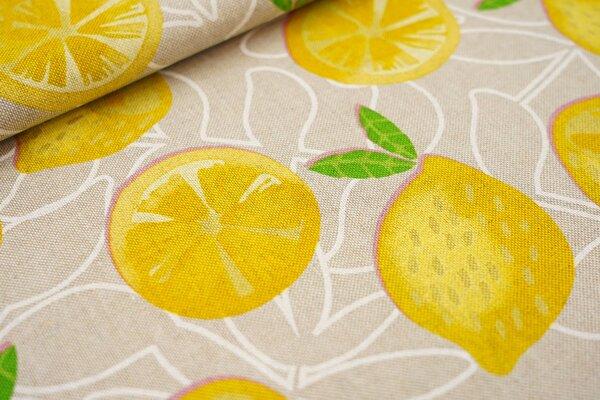 Canvas-Stoff Dekostoff in Leinenoptik gelbe Zitronen und weiße Blätter auf natur