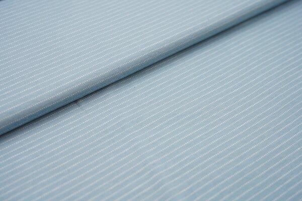 Baumwoll-Jersey zarte weisse gepunktete streifen auf hellblau