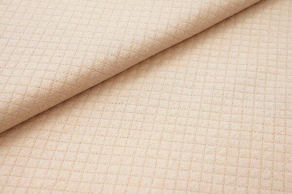 Baumwoll Stepp-Stoff uni mit Rauten Muster Double Face beige
