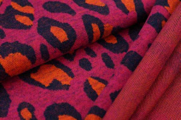 Kuschel Jacquard-Sweat Max XXL Leoparden Muster amarant pink navy blau orange