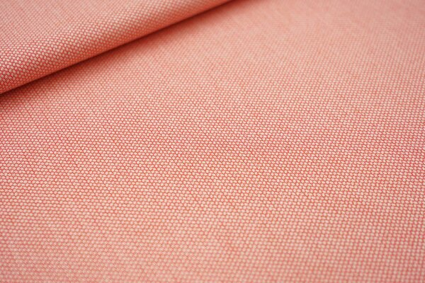 Canvas-Stoff Dekostoff Muster mit kleinen Vierecken koralle / weiß
