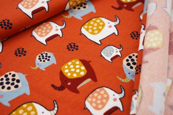 Baumwoll-Sweat Elefanten Parade rostorange / rot / senf / weiß / lachs / blau