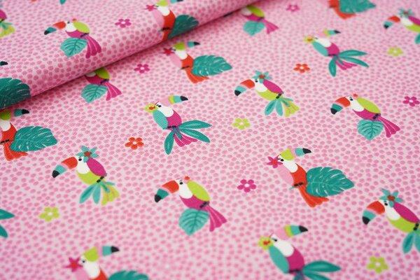 Baumwoll-Jersey bunter Vogel Tukan Blumen und Punkte auf rosa