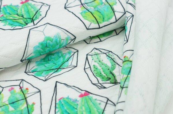 Stepp-Stoff Digitaldruck Kakteen Kaktus im Edelstein auf off white