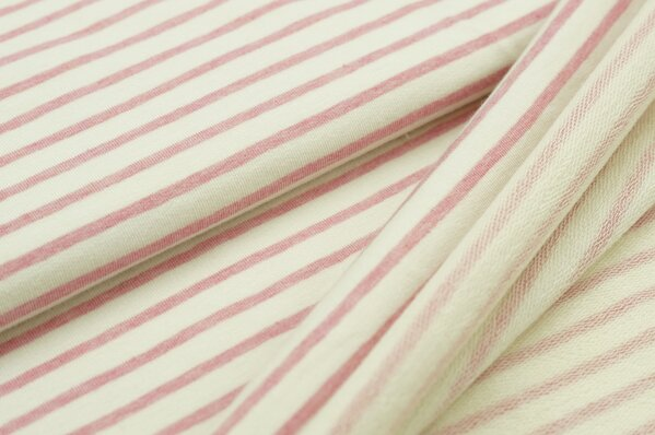 XXL Baumwollsweat Maya Melange Streifen mittel pastell pink und off white
