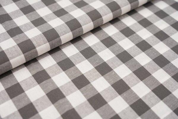Baumwollstoff Baumwolle Karomuster sehr groß kariert grau / weiß