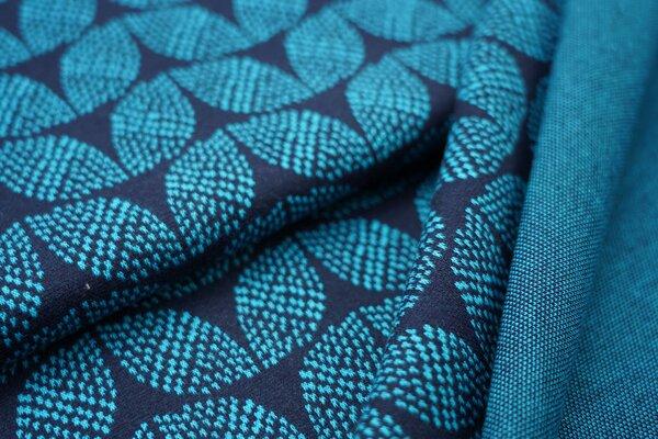 Jacquard-Sweat Ben türkises Blätter Muster auf navy blau