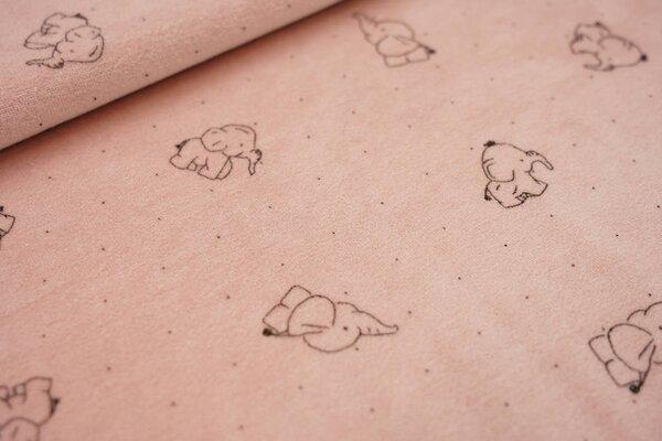 Nicki Velours Stoff Elefanten und Punkte auf pastell altrosa