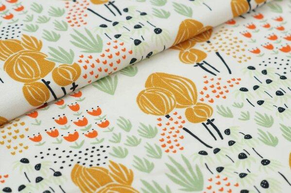Baumwoll-Jersey Digitaldruck Blumen-Beet off-white senf pistazie orange schwarz